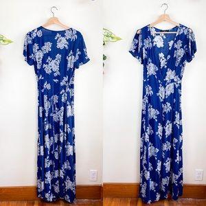 Lulu's Floral Short Split Sleeve Maxi Wrap Dress M